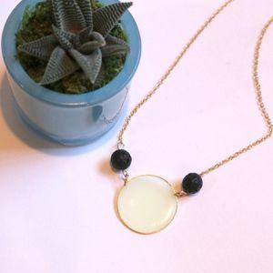 Jewelry - Lava Rock & Clear Pendant Gold Diffuser Necklace